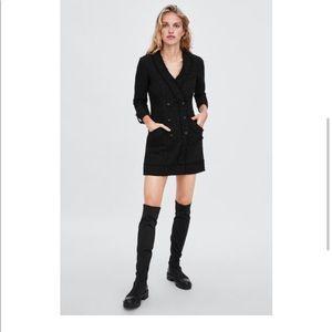 Zara metallic tweed blazer dress M